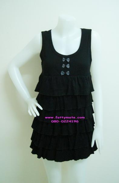 เสื้อยืดแขนกุด โทนสีดำระบายชั้น แต่งโบว์ ผ้ายืดเนื้อดี ยืดหยุ่นใส่สบาย
