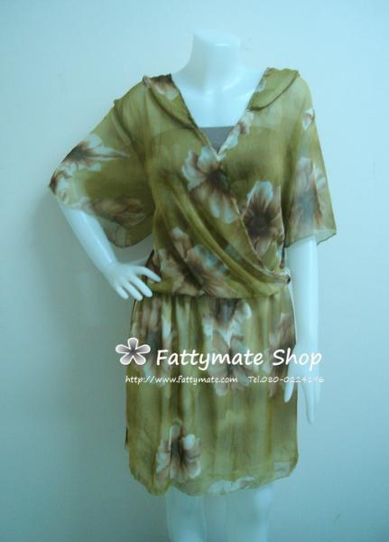 ชุดเดรสผ้าไหมซิลล์พิมพ์ลาย คอป้ายมีปก โทนเขียว แบบเรียบ สวยมากๆ ค่ะ